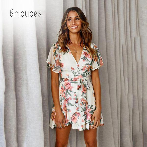Compre Brieuces Vestido De Mujer 2019 Verano Sexy Con Cuello En V Estampado Floral Volantes Vestido De Gasa Estilo Boho Fiesta Corta Vestidos De Playa