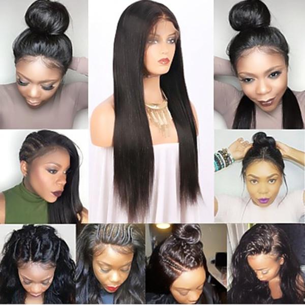 Schatz Natürlicher Haaransatz Lange Gerade Schwarze Perücken mit Babyhaar 180% Dichte Glueless Synthetische Lace Front Perücken Für Frauen Hitzebeständig