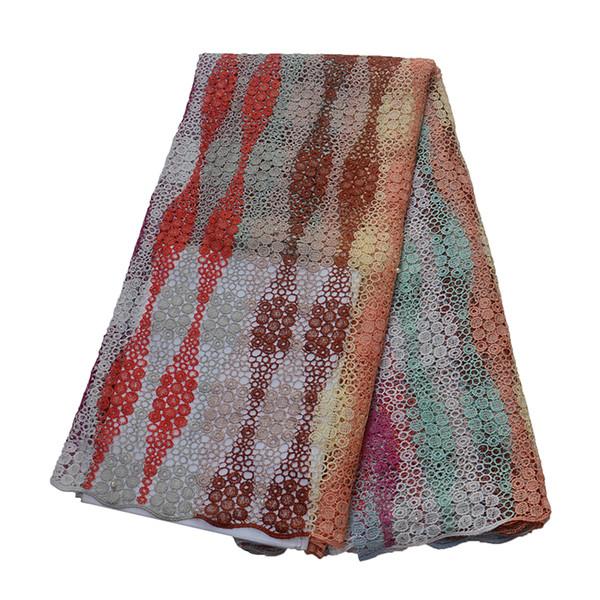 Mais recente Laço Africano 2019 Multi Color 5 Metros Vestido De Casamento Nigéria Bordado de Alta Qualidade Multi Cor Cord Lace Tecido X1555