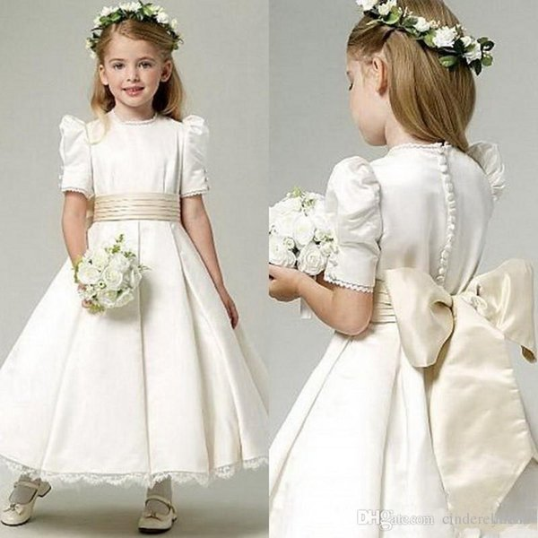2019 A line Flower Girls Dresses Vintage Short Sleeves Satin Little Girls Ruched Bow Sash Lace Edges Communion Pageant Prom Party Dresses