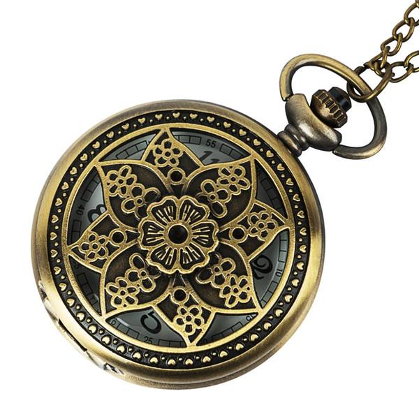 Roman Numerals Quartz Necklace Pocket Watch Vintage Bronze Steampunk Pocket