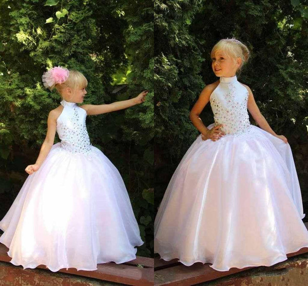 best selling hot sell Cute Flower Girls Dresses For Weddings White Cheap High Neck Girls Pageant dresses With Colorful Rhinestone Princess party Gowns