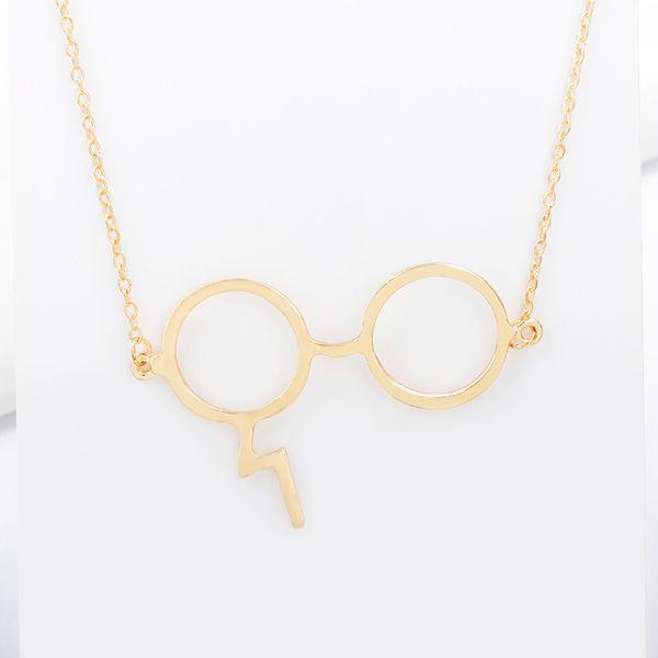 Acheter Harry Vintage Potter Lunettes Pendentifs Colliers Noir Argent  Plaqué Bijoux Foudre Cicatrice Collier Collares Pour Les Fans Cadeau B010A  De ...
