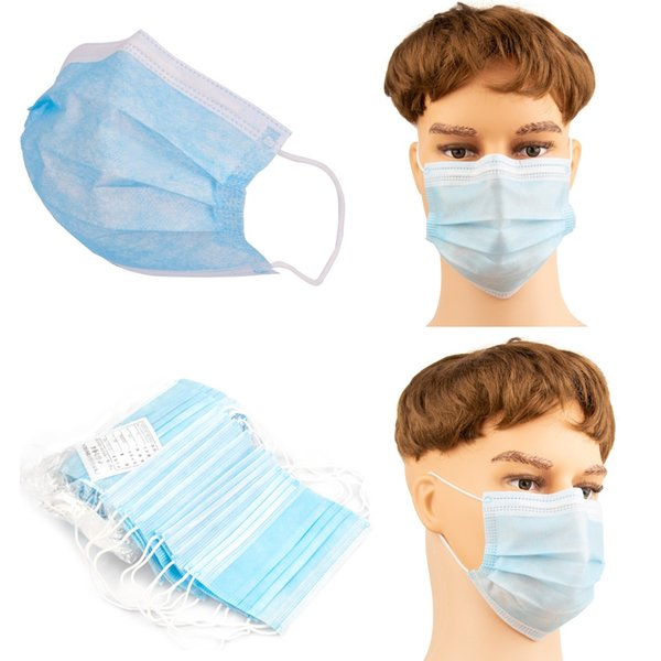 top popular Disposable Face Mask Dustproof Mask 3 Layers Facial Protective Cover 50ct Pack Anti-Dust Mouth Mask Dustproof Inhalation Cover 2020