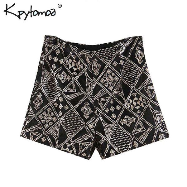 Vintage Chic Kadife Pullu Şort Kadınlar 2019 Moda Yüksek Bel Yan Fermuar Streetwear Kısa Pantolon Rahat Pantalones Cortos J190507
