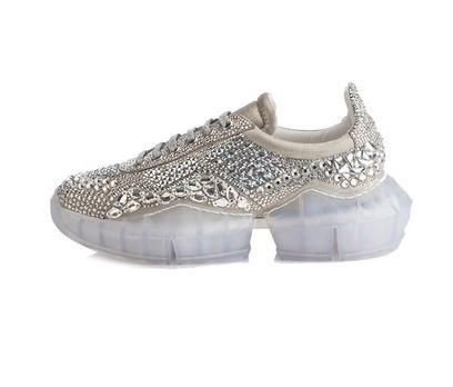 2019 The New superstar Casual shoes street snap platform flat dad shoes crystal diamond genuine leather transparent bottom Shining m1