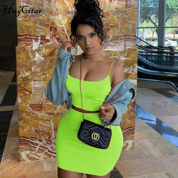 Hugcitar spaghetti straps sexy camis jupe 2 deux pièces ensemble 2019 été femmes mode néon vert orange solide parti streetwear