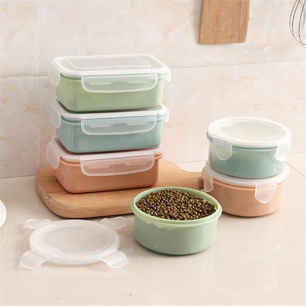 Récipient de stockage des aliments en plastique Cuisine Réfrigérateur Stockage des épices Conteneurs pour le déjeuner Boîte de conserves fraîches avec couvercles