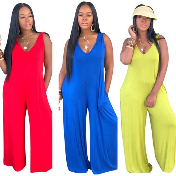Combinaisons sexy femmes Rompers à capuche lâche col en v Spaghetti sangle poche pantalon à jambes larges solide couleur naturelle vêtements d'été plus la taille 607