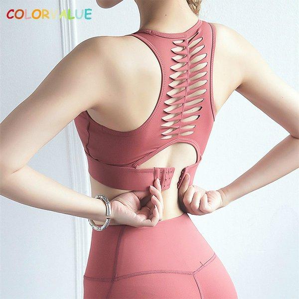 Colorvalue appoggiano scavano fuori fitness reggiseni sportivi delle donne fibbia regolabile reggiseni allenamento di yoga ad alta supporta l'esecuzione di Jogger Brassiere