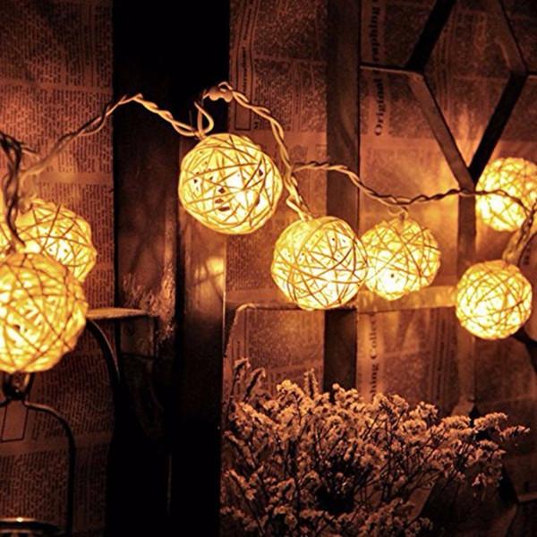 20 LED Warm White Rattan Ball String Fairy Lights Per Natale Xmas Decorazione natalizia Party Batteria a secco uso caldo per Natale D19010902