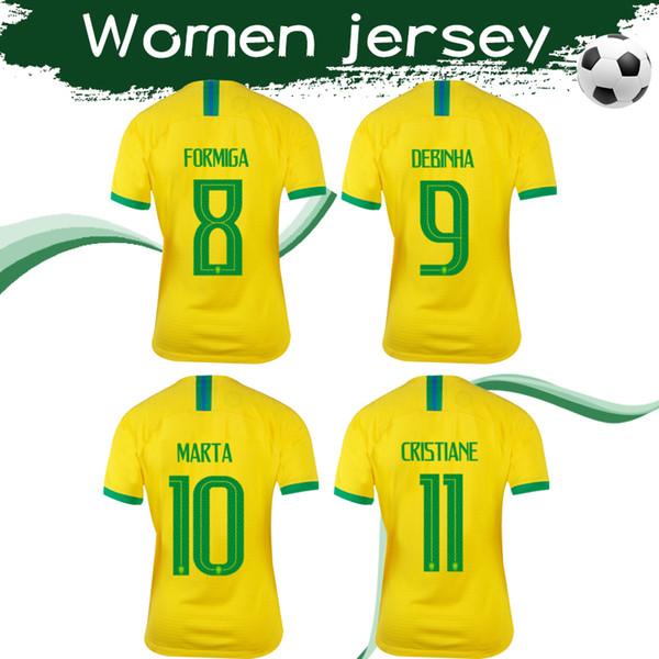 Bayanlar Dünya Kupası 2019 Brezilya Ev Sarı Futbol Formaları 19 20 # 10 MARTA # 9 DEBINHA # 11 CRISTIANE # 8 FORMIGA Bayan Futbol Gömlekleri Satış