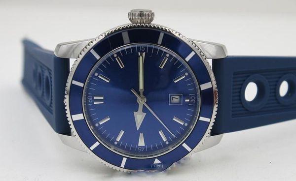 Hot Seller Brei Men S Watch Automatic Movement Chronometer Superocean Blue Dial Blue Rubber Watch For Men Free Shipping
