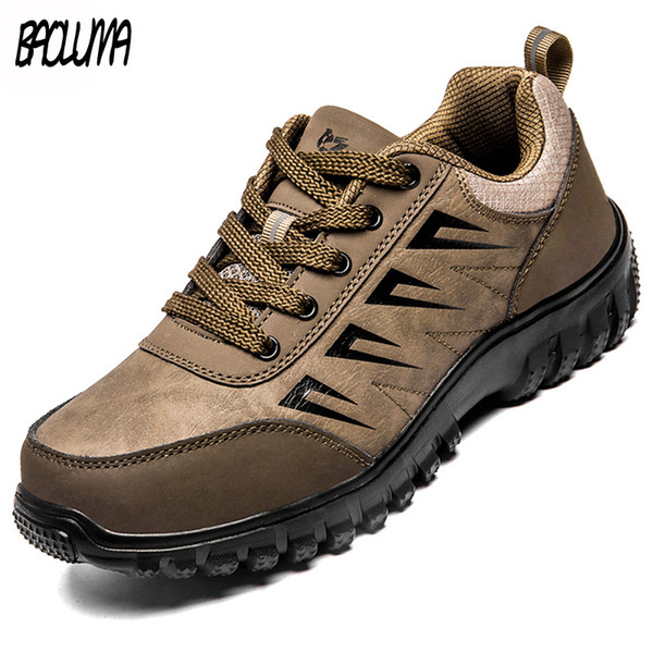 2019 Autumn New Mens Casual Shoes High Quality Leather Male Walking Sneakers Outdoor Breathable Flats Shoes Lace-up Trainers