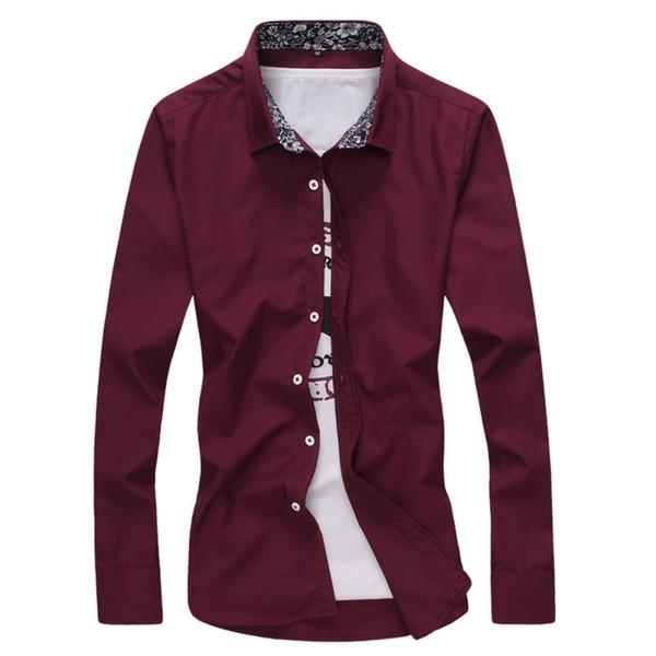 Mode Casual Hommes Chemises À Manches Longues Col Rabattu 2019 Slim Fit Shirt Hommes Affaires Coréenne Hommes Chemises Vêtements Nouveau