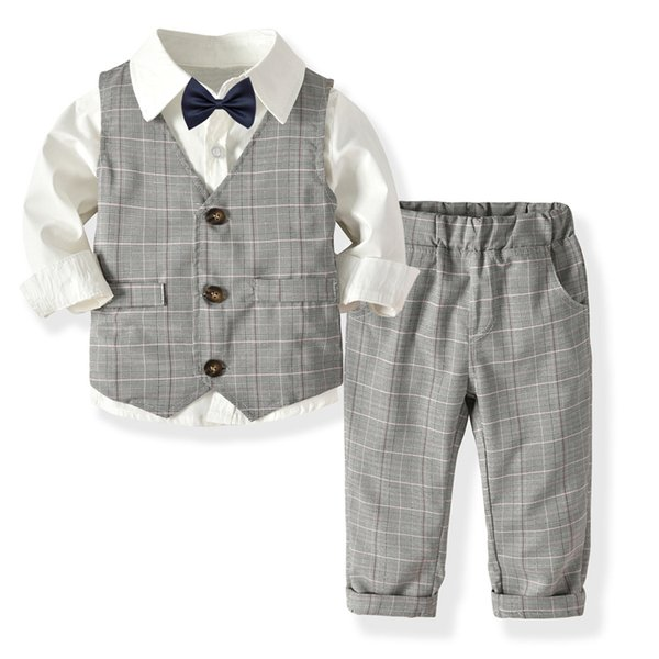 Toddler Children Clothes Suit For Boy Kid's Fall Costume Solid Shirt +Vest+ Pants 4 Pieces Suit Set Baby Boys Clothing Sets