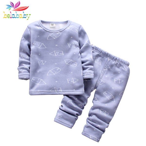 Boys Girls Pajamas Set Thermal Warm Clothing for Children 2PCS Cotton Thicken Warm Kid Clothes Long Johns Underwear Clothes Suit