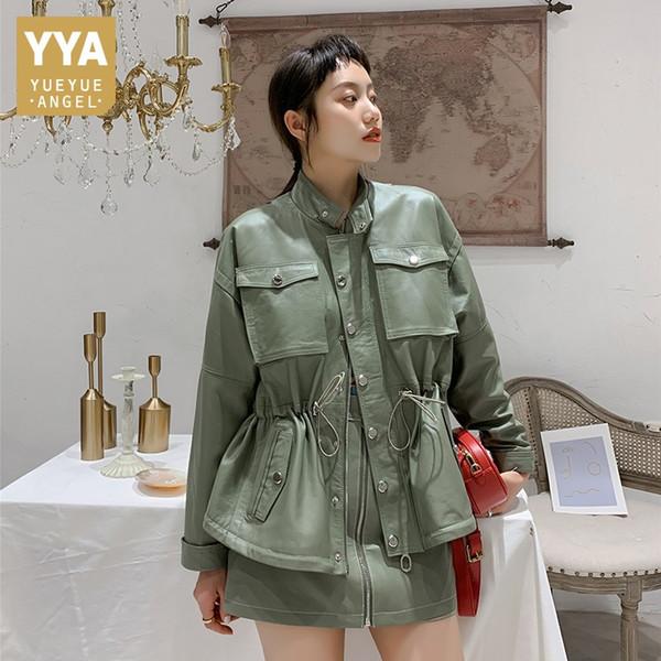 autumn new women genuine leather jacket pockets casual loose batwing sleeve oversized outwear drawstring waist sheepskin jacket