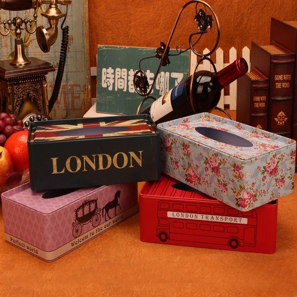 Vintage Big european iron holder tissue box home table decoration square napkin sheet paper box Storage automatic paper towel