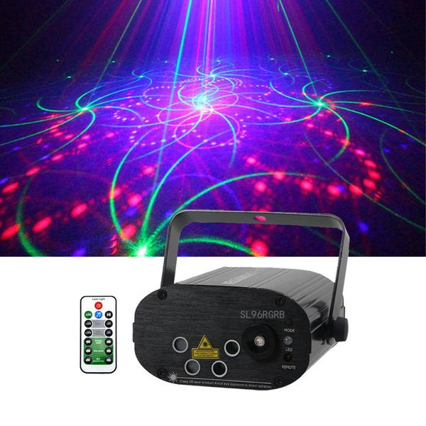 Mini 96 RGB Patterns Projector Laser Light 3W Blue LED Mix Effect DJ Gig Party Remote Control Speed Show Holiday Stage Lighting SL96RGB