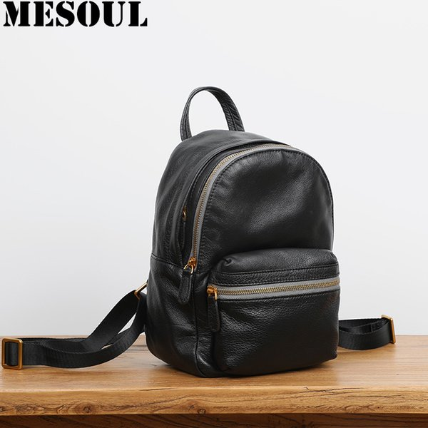 New Design Gray Women Backpack Soft Genuine Leather Multi-Function Small Backpack Female Shoulder Bag Ladies mochilas mujer 2019