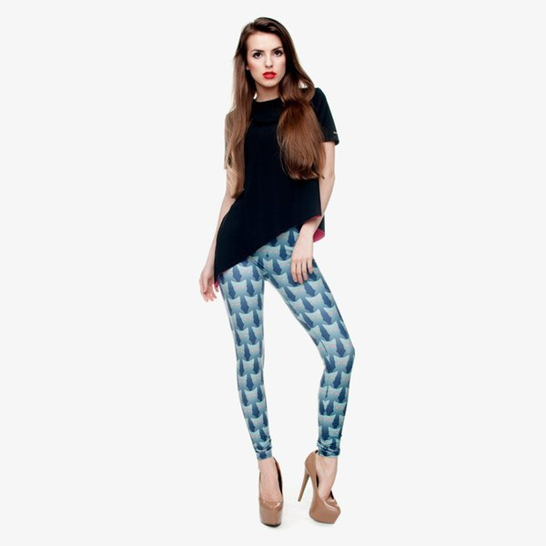 Girls Leggings Turquoise Cat 3D Digital Full Print Comfortable Pencil Fit Women Stretchy Yoga Wear Pants Lady Skinny Soft Jeggings (Y30544)