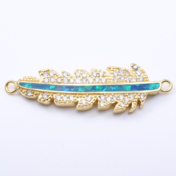 Singreal Opal Micro Pave setting leaf Charms Bracelet necklace Choker Pendant connectors for women DIY Jewelry making accessorie
