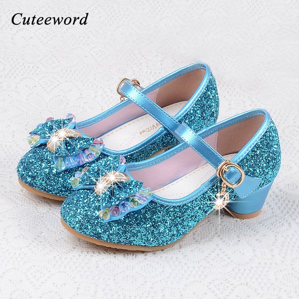 Fashion Children shoes girls high heel for party dance sequined princess shoes snow queen for kids pink blue leather