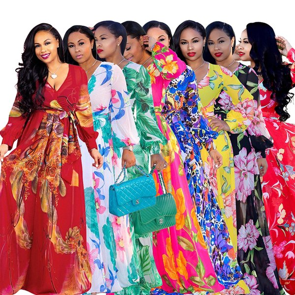 2019 Fashion Floral Print Vintage Chiffon Dress 2019 Deep V Neck Long Lantern Sleeve Floor Length Dress Spring Plus Size Beach Maxi Dress