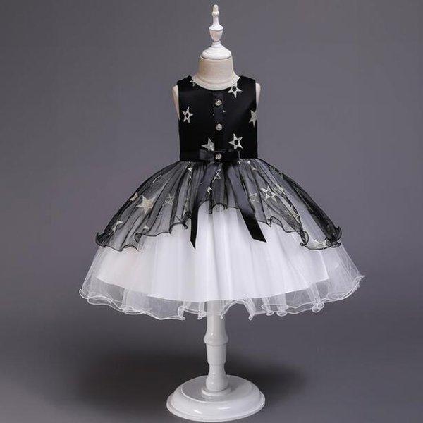 Neue Art-Mädchen-Kleid-Kinderkleidungs-Art- und Weisestern-Bogen-Sleeveless Prinzessin Dress Baby Kids Party Wedding Brautjungfer Vestido