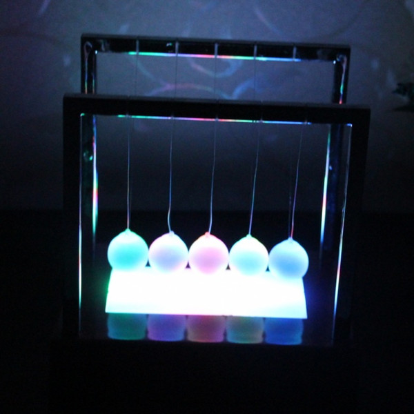 Newtons Balance Ball LED Pendulum Colorful Early Fun Development Educational Cradle Steel Physics Science Gift Desk Toy AAA1855