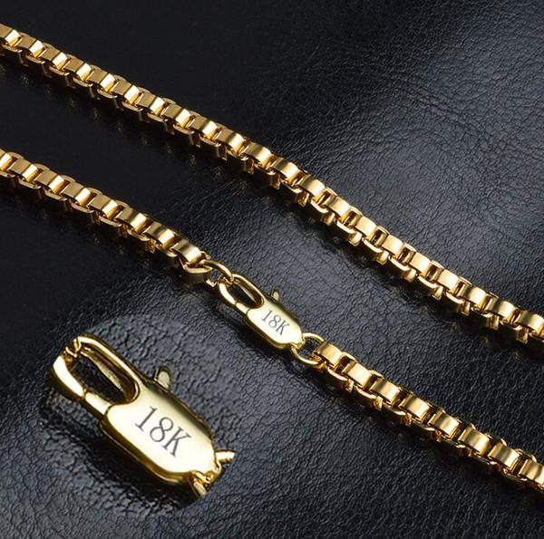 Erkekler 4mm 18 K Altın Kaplama Kutusu Zincirler Kolye Ile 18 K Damga Erkekler Lüks Moda Hiphop Gerdanlık takı Kolye