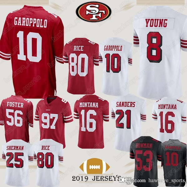 separation shoes f7ac7 c8d31 2019 10 Jimmy Garoppolo San Francisco Jerseys 49ers 97 Bosa Kaepernick 16  Joe Montana 80 Jerry Rice Jersey Black Shirt From Hawkeye_sports, $22.26 |  ...