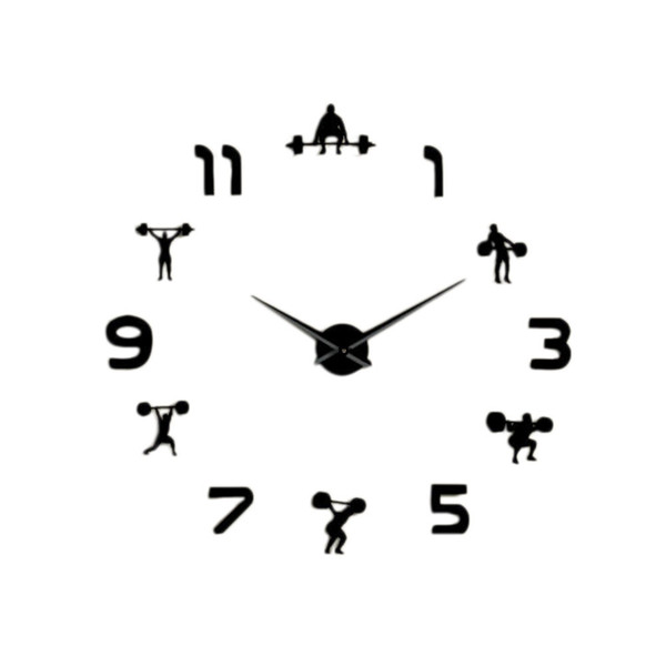 weightlifting fitness room wall decor diy giant wall clock mirror effect powerlifting frameless large clock watch blac