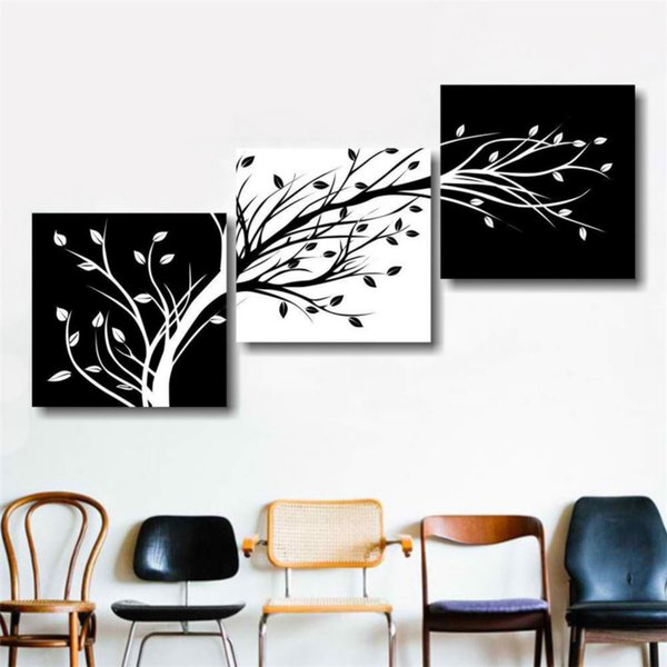 Tree Black and White Abs,3 Pieces Canvas Prints Wall Art Oil Painting Home Decor (Unframed/Framed) .