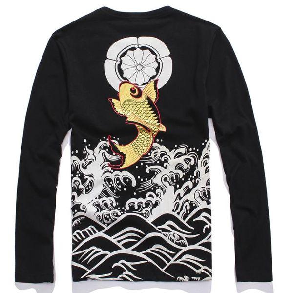 Japanese Style Mens Cotton Loose T Shirt Wave Carp Fish Print Tops Tees Fashion Hip-hop Printing Back Long Sleeve T-shirt M-4XL