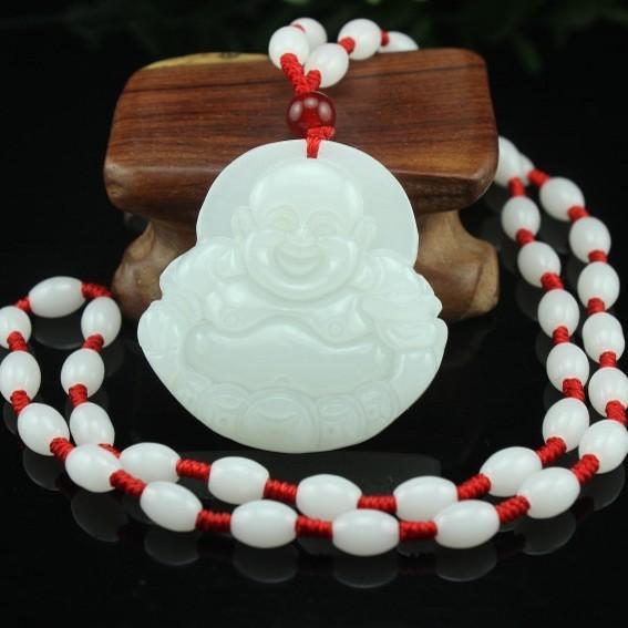 Free shipping Natural Afghan Jade Money Buddha Pendant White Jade Stone Buddha Pendant Smile Necklace