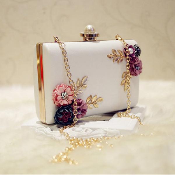 Модная женская кожаная вечерняя сумка Dinner Party Lady Свадебный цветочный кошелек-клатч (белый)