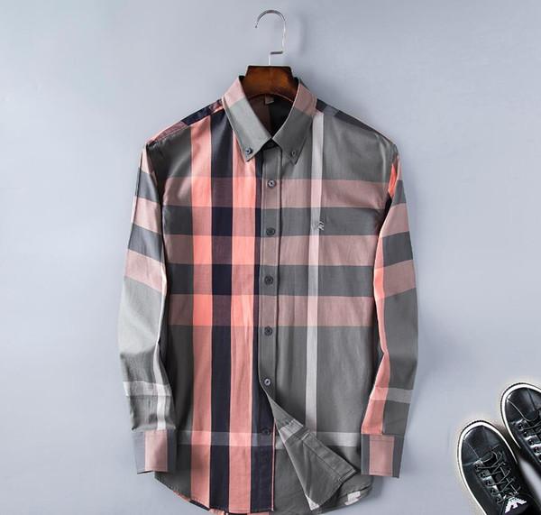 hkx688463 / Moda Masculina Camisas Mangas Compridas Cor Sólida Camisa Ocasional 2019 Inverno Nova blusa de Slim gola mandarim OverShirt Do Adolescente 5635