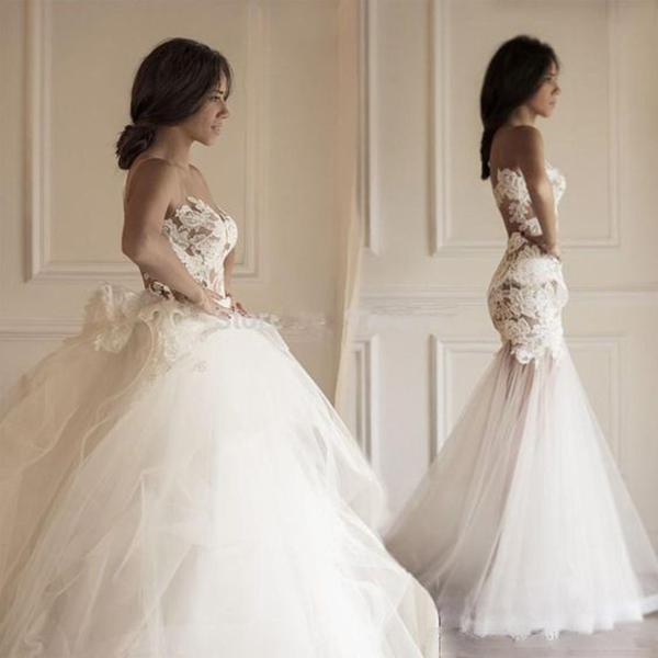 Two Pieces Strapless Gorgeous Lace Wedding Dresses With Detachable Train Sheer Neck Mermaid Beach Seaside Wedding Bridal gown