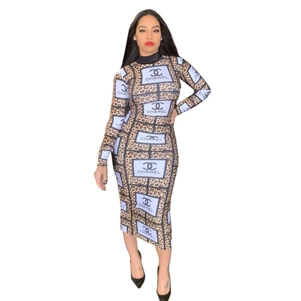 Marka Tasarımcısı Kadın Elbiseler Uzun Kollu Yüksek Boyun Mide Elbise Leopar Baskı Bodycon Seksi Yaz Gündelik Giyim YENI Gelen toptan 810