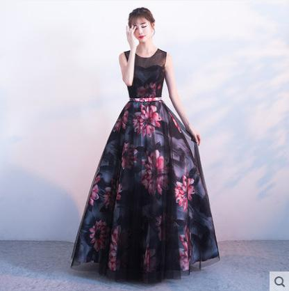 New Design A-Line Evening Dresses Floral Skirt Printed Ladies Sleeveless Sweep Train Women Maxi Dress Prom Gowns Special