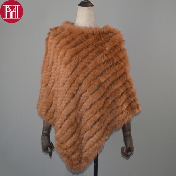 Women Spring Autumn Knit Genuine Real Rabbit Fur Poncho Scarves Real Natural Rabbit Fur Shawl Pashmina Real Rabbit Fur Scarf Y191022