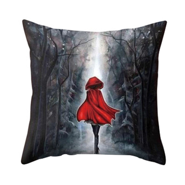 Dreams Cute Cat Magical Moon Night Wonderland Emerald Forest Witches Halloween Dance Cushion Cover Sofa Throw Pillow Case