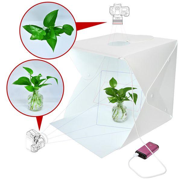 fosoto 미니 접기 라이트 박스 사진 Softbox LED 라이트 소프트 박스 카메라 사진 스튜디오 Backwhite 지상 박스 조명 키트