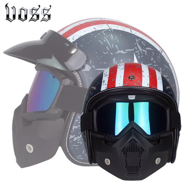 Casco de moto vintage invierno medio casco jet retro capacete casque moto DOT