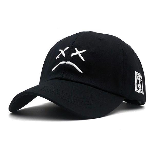 Lil Peep Sad face Dad Hat Embroidery 100% Cotton Baseball Cap Hat xxxtentacion Hip Hop Cap Golf Love lil.peep Snapback Women Men