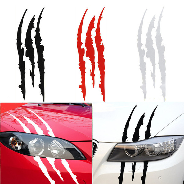 best selling 40*12CM Car Sticker Creative Animal Claw Mark Personality Light Eyebrow Decoration Car Body Vinyl Decal Auto Funny Waterproof Stickers