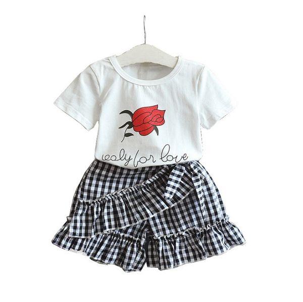 New design baby girls summer outfist children rose flower cotton tops+grid shorts skirts 2 pcs set kids boutique clothing