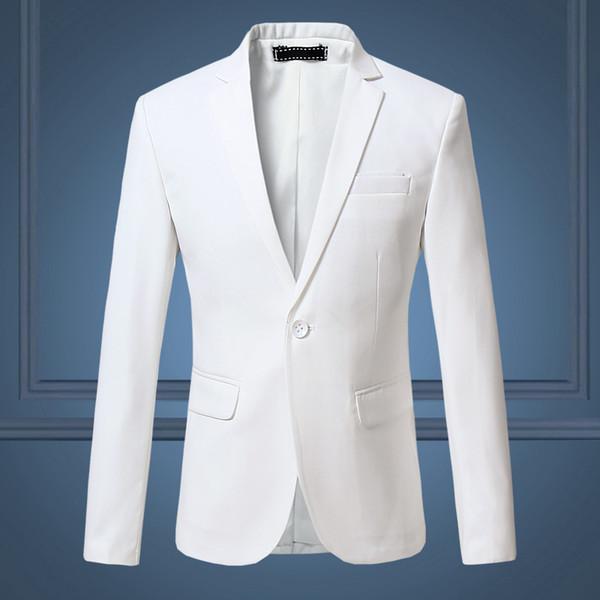 High Quality Gentleman Men Slim Casual White Suit , Large Size Brands Men's Business Casual Flow Of Pure Color Blazers Men Y190420